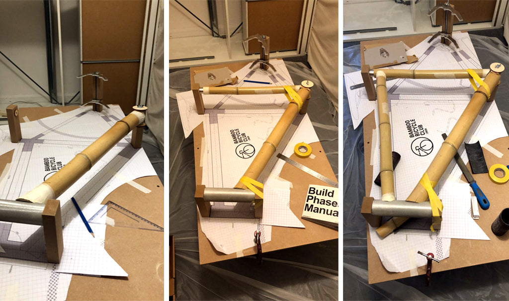 Front triangle assembly for a bamboo gravel bike