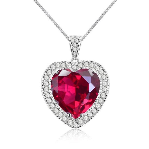 100% 925 Sterling Silver Huge Love Heart 16 * 16 MM Ruby Gemstone Pendant Necklace Jewelry For Women Gift Wholesale - Echo Moissanite Jewelry