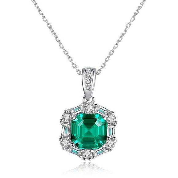 100% Vintage 925 Sterling Silver Emerald Gemstone Diamonds Pendant Necklace Fine Jewelry Gifts Wholesale Drop Shipping - Echo Moissanite Jewelry