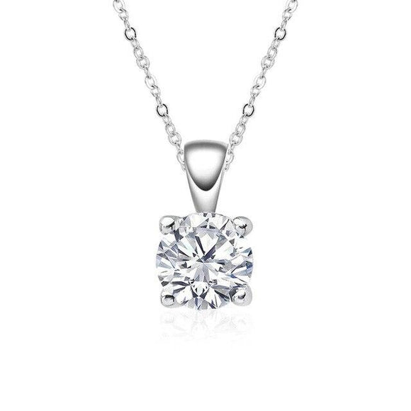 Classic 925 Sterling Silver Round Cut Created Moissanite Gemstone Diamonds Pendant Necklace Engagement Fine Jewelry - Echo Moissanite Jewelry