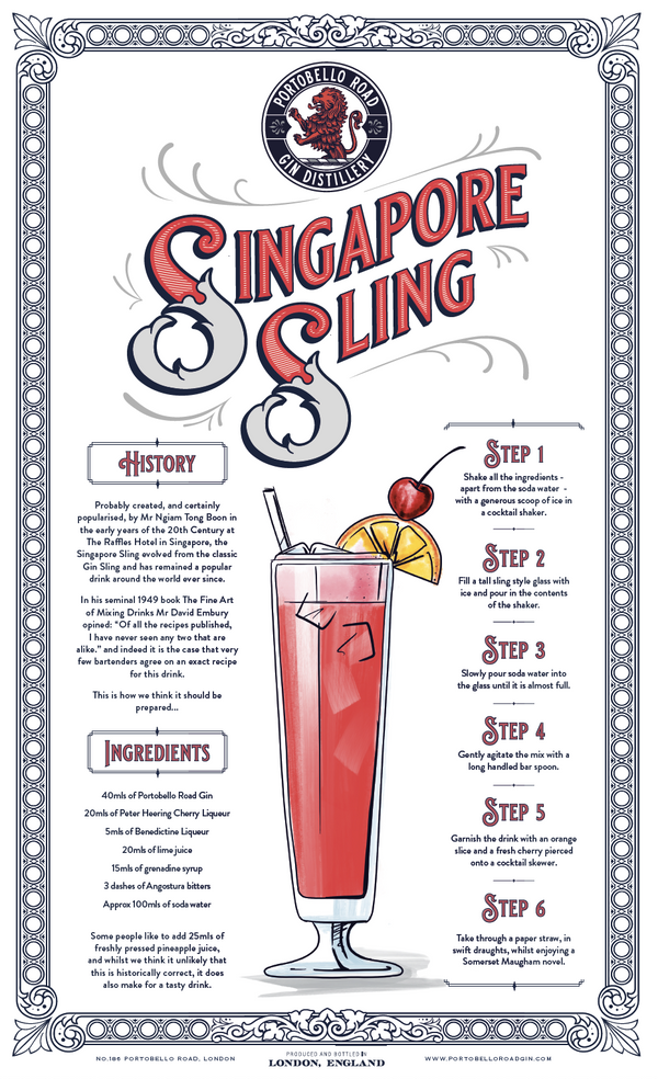 Portobello Road Merch - Singapore Sling Tea Towel - Portobello Road Gin