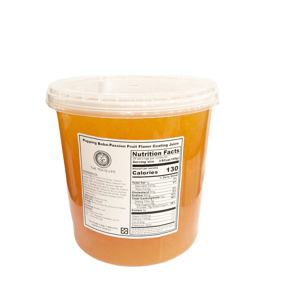 B17 R&D TEA Logo Popping Boba - Passion Fruit Flavor Coating Juice - 3.4Kg