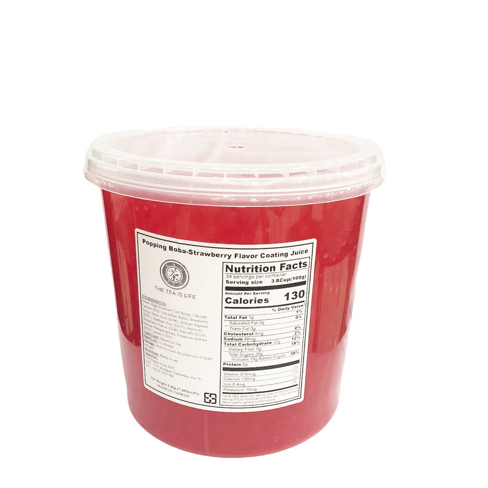 B18 R&D TEA Logo Popping Boba - Strawberry Flavor Coating Juice - 3.4Kg
