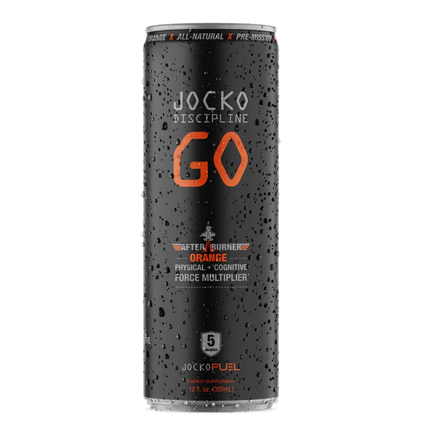 "Jocko GO drink ""after burner orange"""