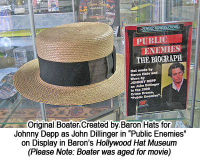 Original Boater Created by Baron Hats for Johnny Depp as John Dillinger in Public Enemies