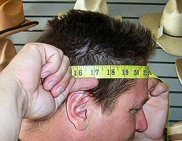 Take the measurement about one inch above your ears without tightening the tape, as shown below.