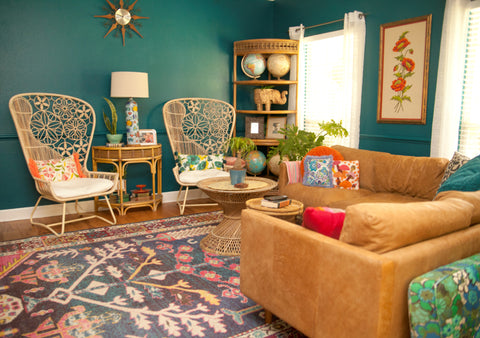 turquoise blue mid century living room leather sectional by article peacock chairs