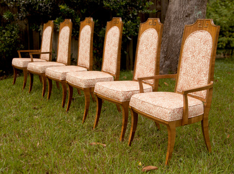 6 tall back upholstered chairs