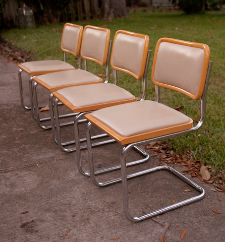 4 cesca tan chairs