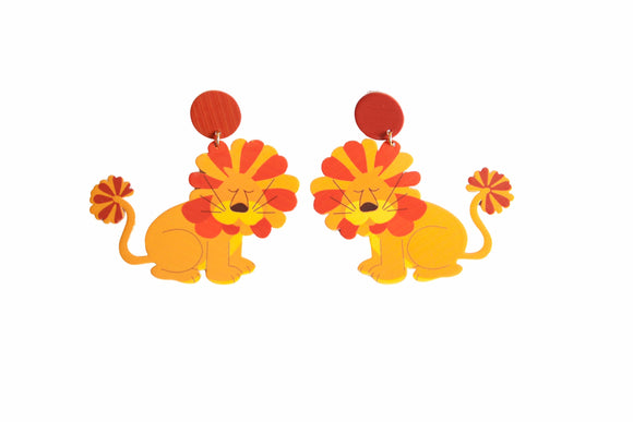 70s Retro Leo the Hippie Lion Earrings Groovy Girl