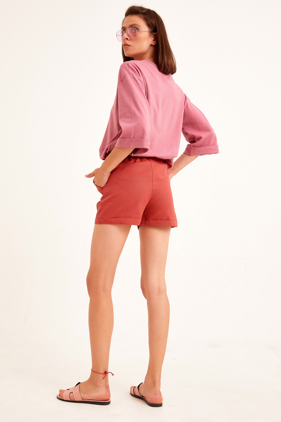 Cinnamon Gabardine Shorts with Side Pocket
