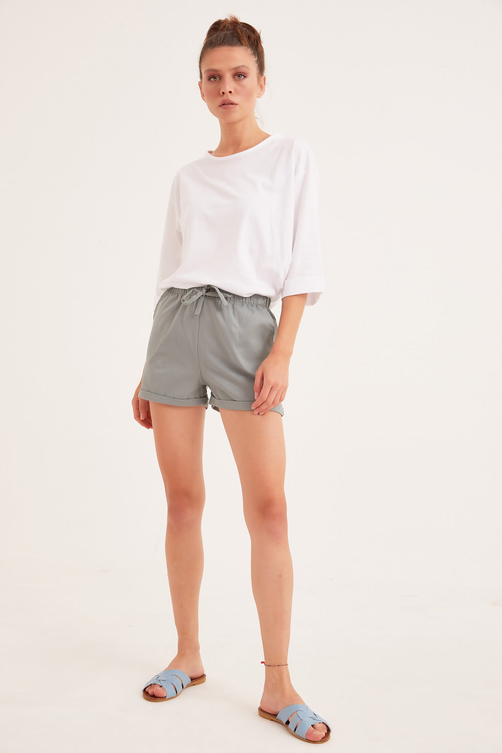 Water-green Gabardine Shorts with Side Pocket