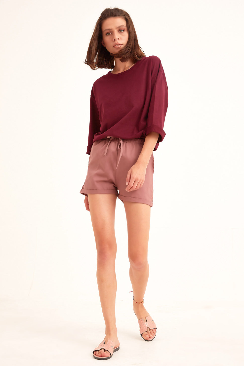 Dried-rose Gabardine Shorts with Side Pocket