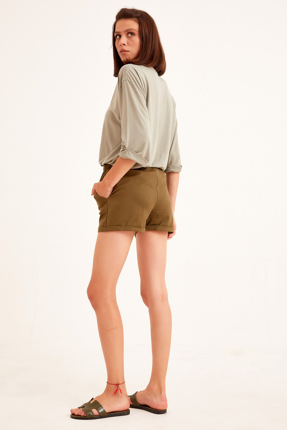 Olive Gabardine Shorts with Side Pocket