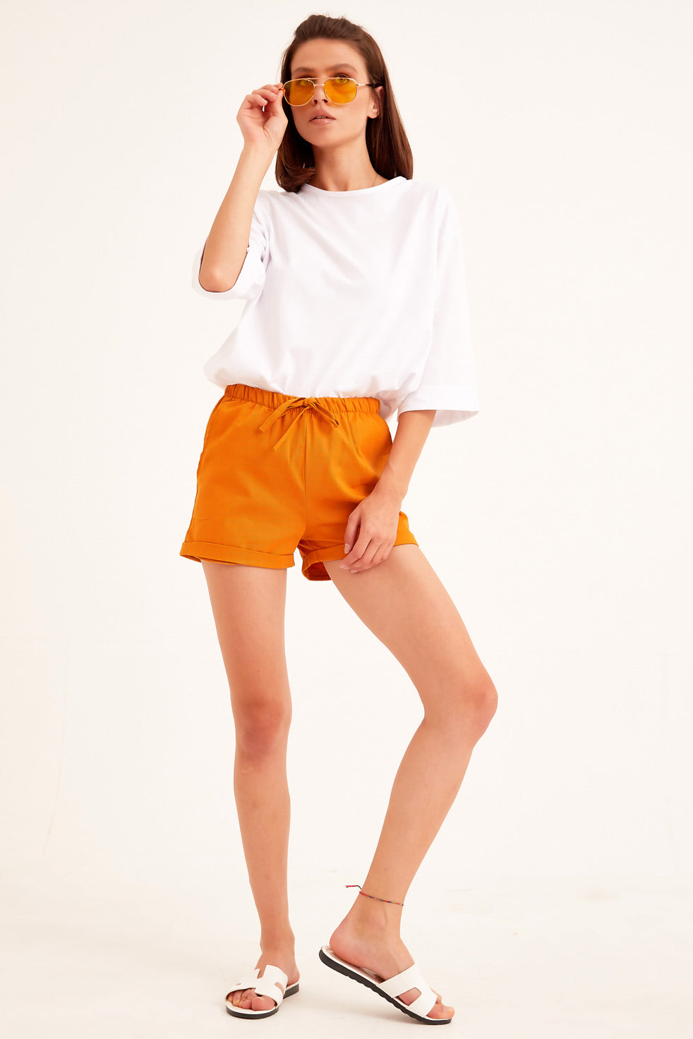 Mustard Gabardine Shorts with Side Pocket