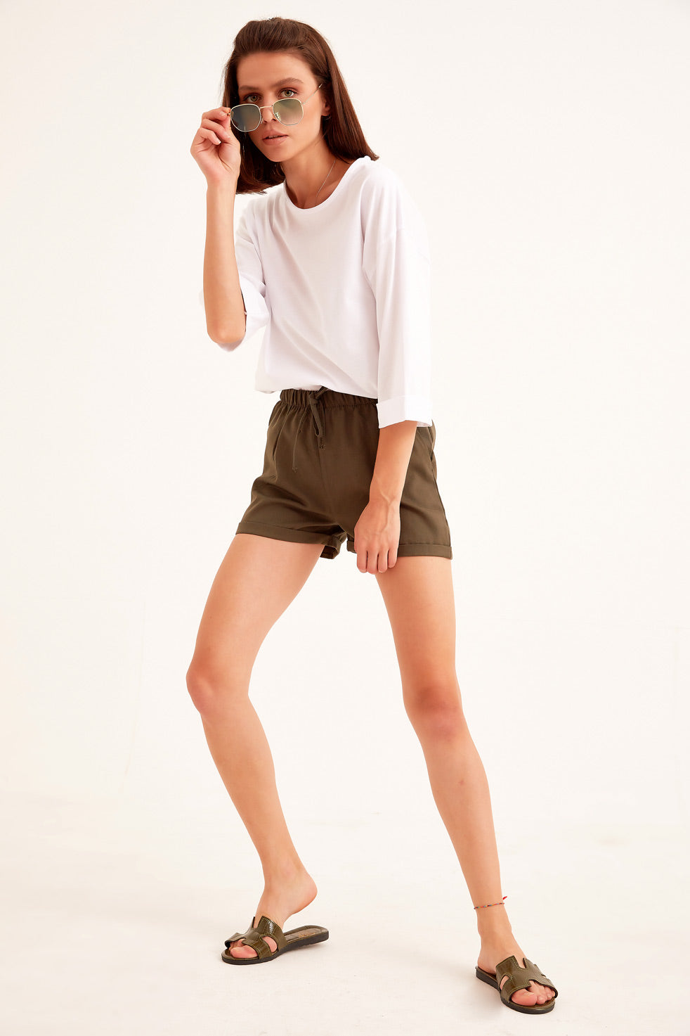 Dark-olive Gabardine Shorts with Side Pocket