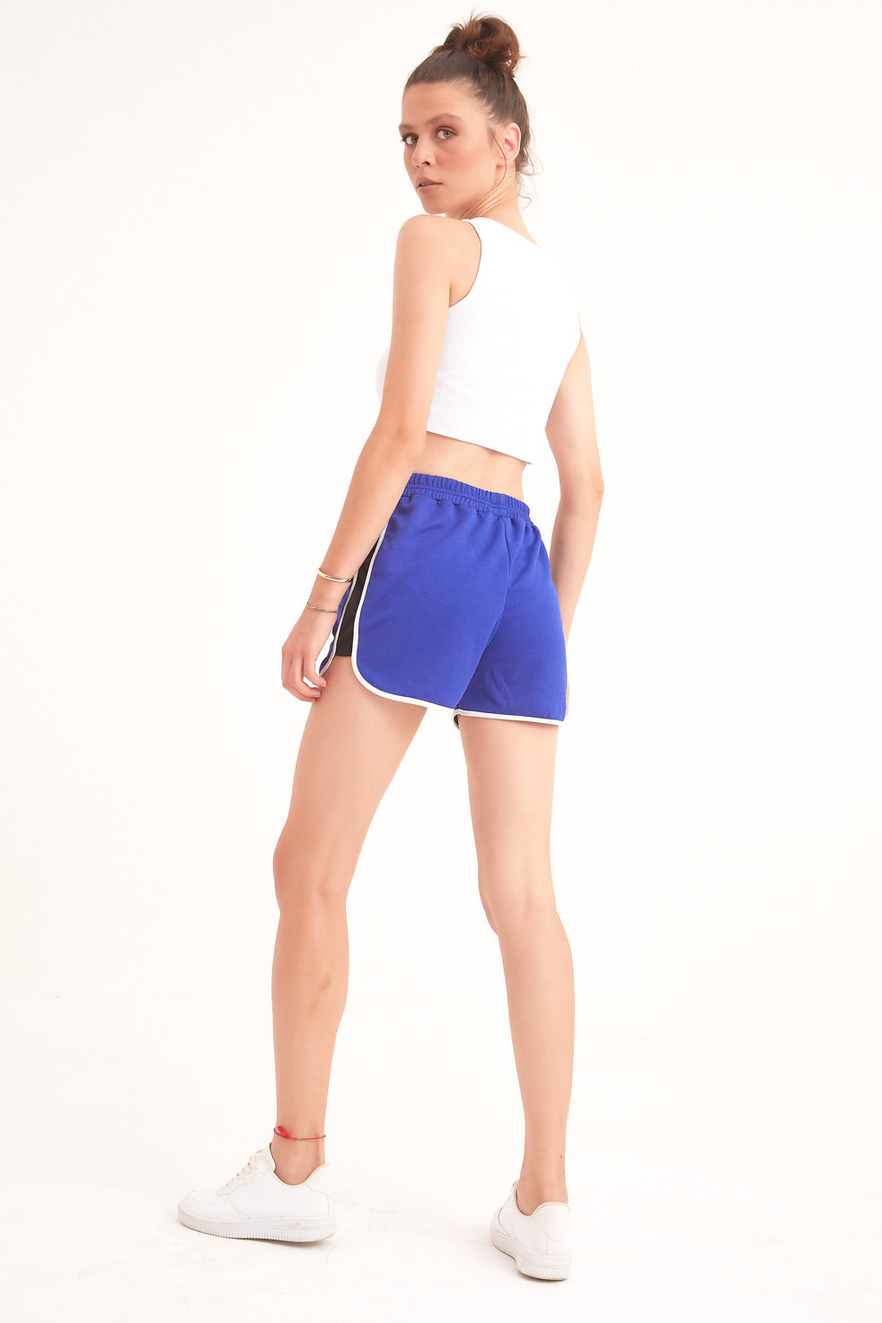Sax-blue Detailed Shorts With Side Pockets