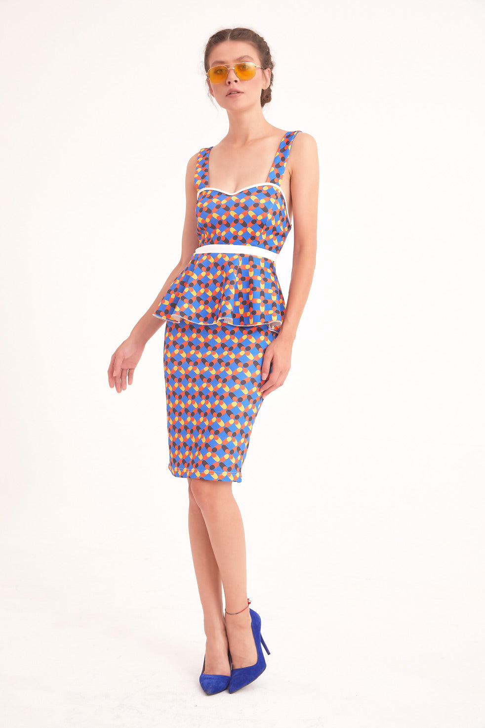 Sax-blue Patterned Floral Mini Pencil Skirt