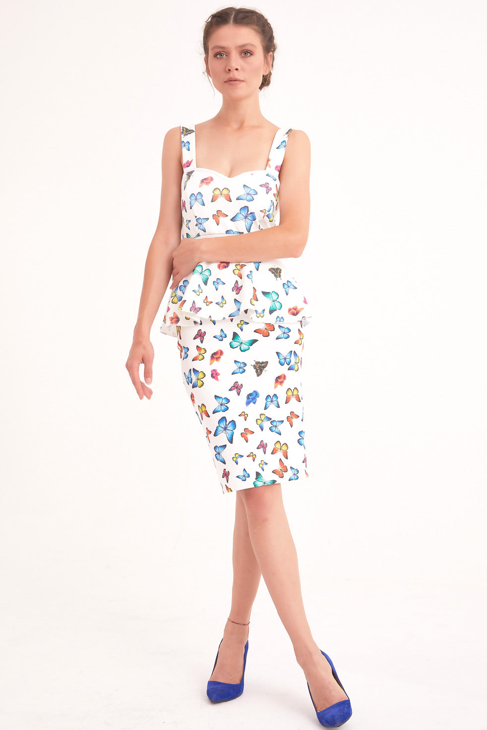 White Patterned Floral Mini Pencil Skirt