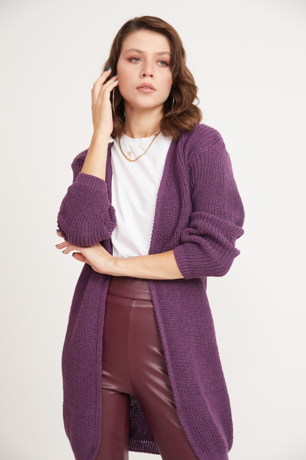 Purple Front Open Thessaloniki Cardigan