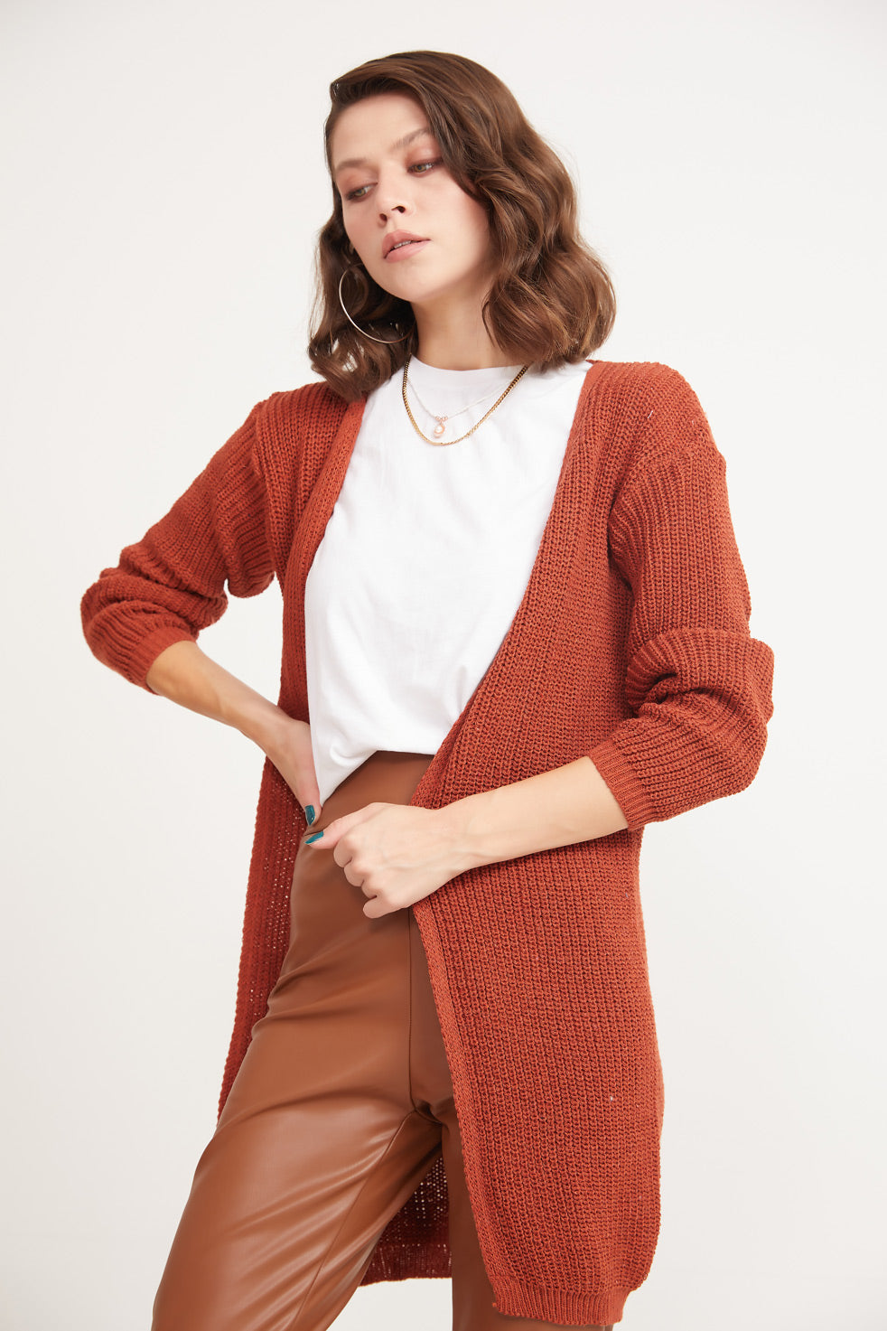 Dark-orange Front Open Thessaloniki Cardigan