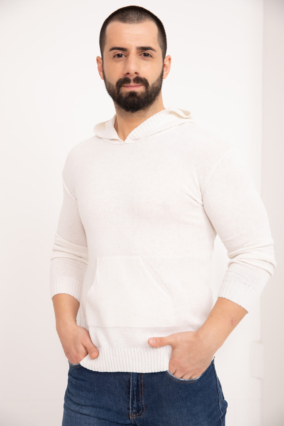White Hooded Men's Knitwear Sweater