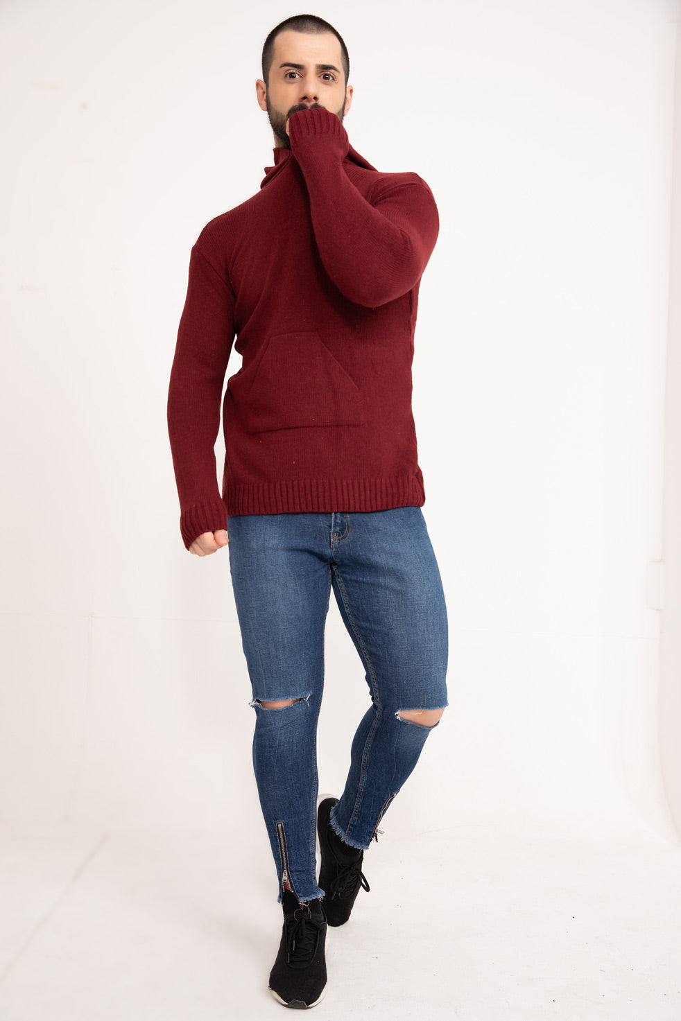 Burgundy Hooded Men's Knitwear Sweater