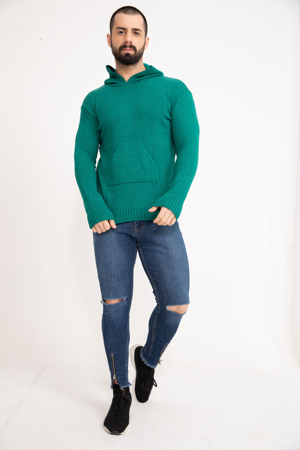Green Hooded Men's Knitwear Sweater