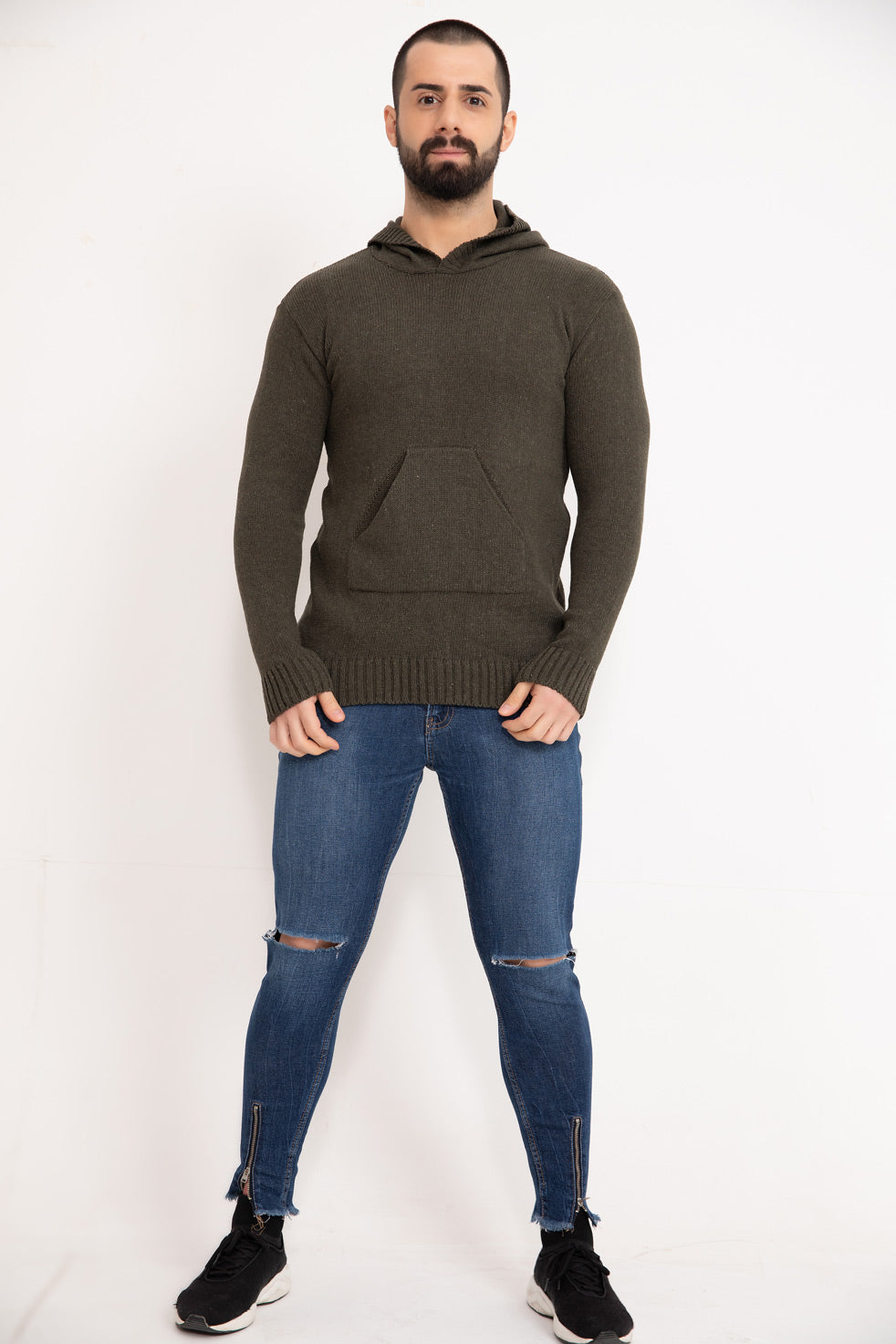 Olive Hooded Men's Knitwear Sweater