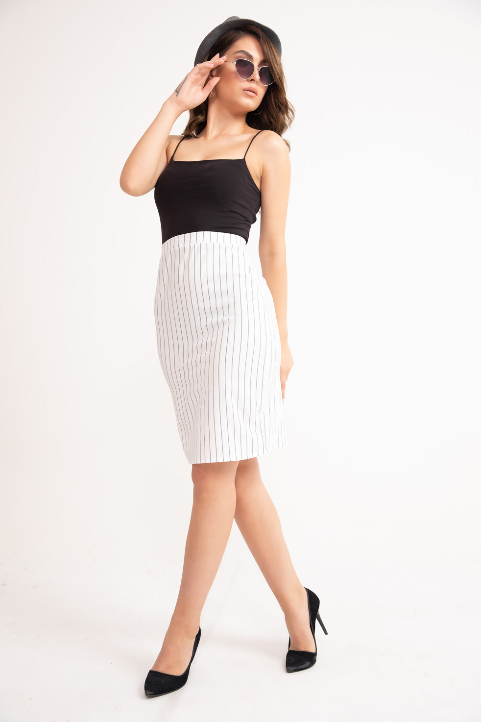 Ecru Striped Pencil Mini Skirt