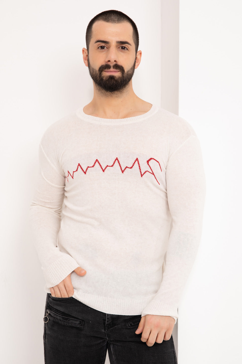 Off-white Heart Rhythm Printed Men's Knitwear Blouse