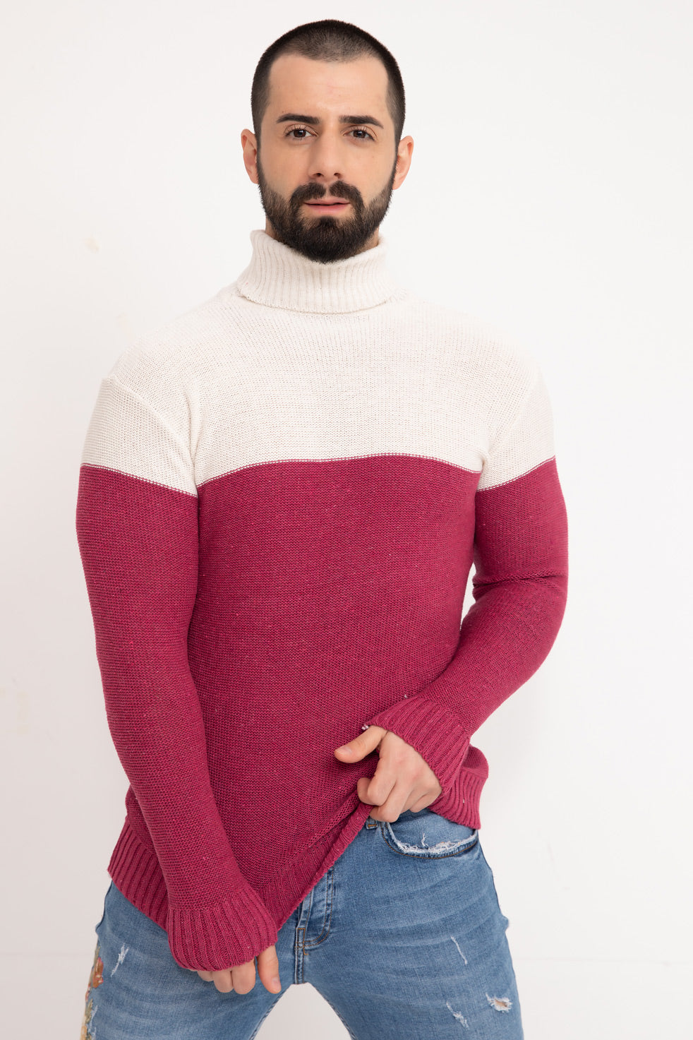 Fuchsia Double Color Neck Men's Knitwear Sweater