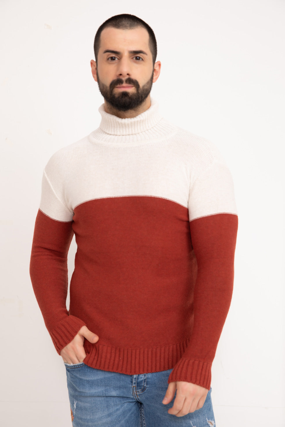 Cinnamon Double Color Neck Men's Knitwear Sweater