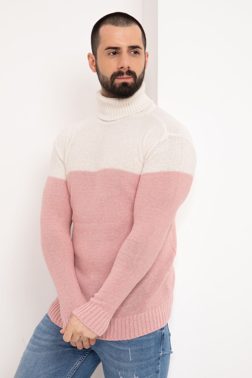 Rose powder Double Color Neck Men's Knitwear Sweater