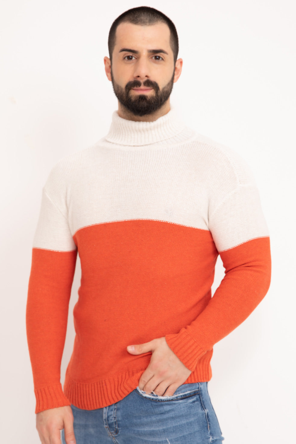 Dark-orange Double Color Neck Men's Knitwear Sweater
