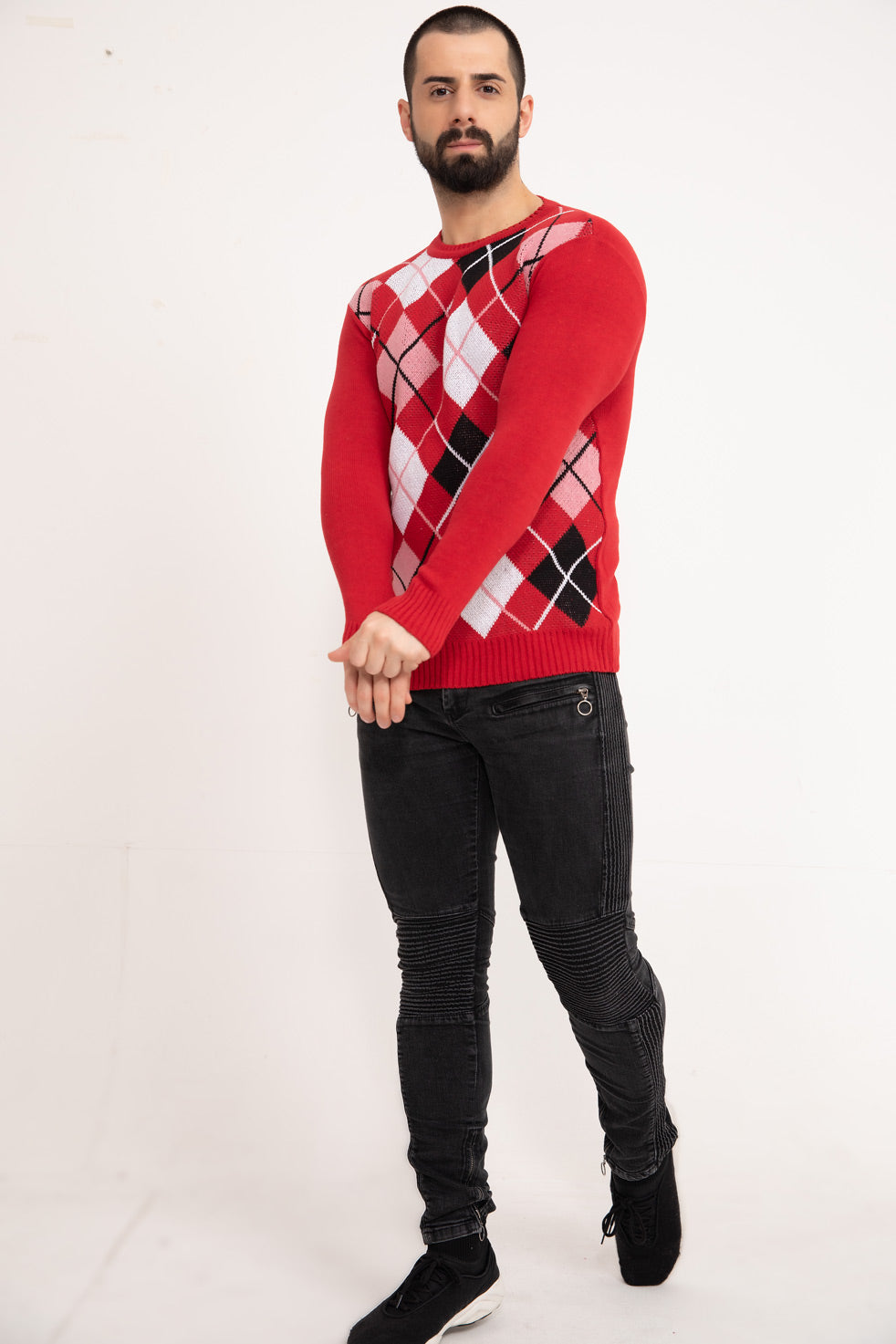 Red Patterned Men's Knitwear Sweater