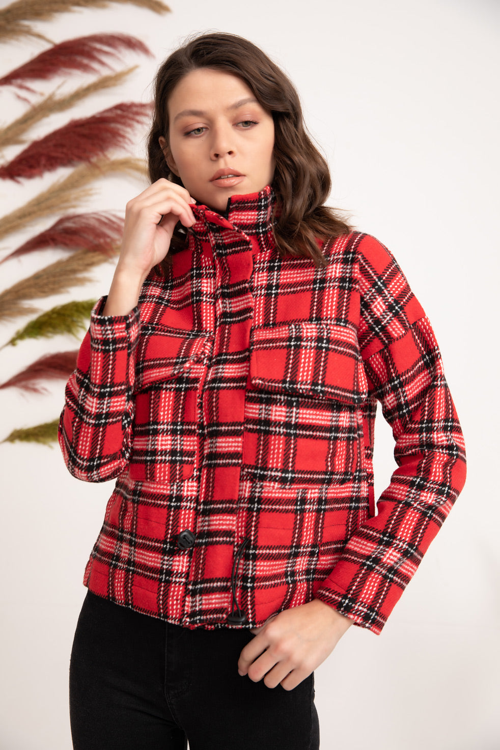 Red Plaid Jacket Coat With Pockets