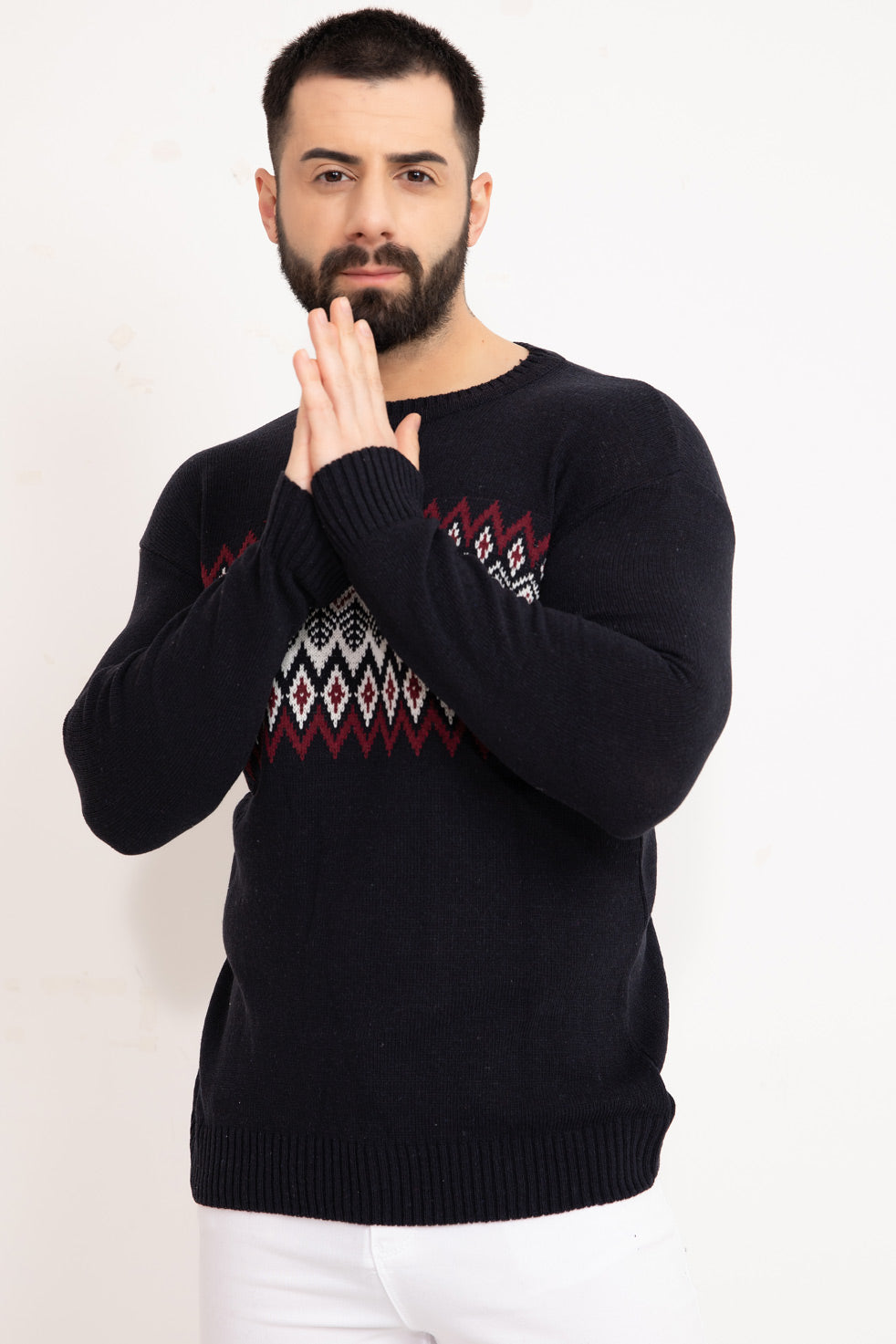 Navy-blue Patterned Men's Knitwear Sweater