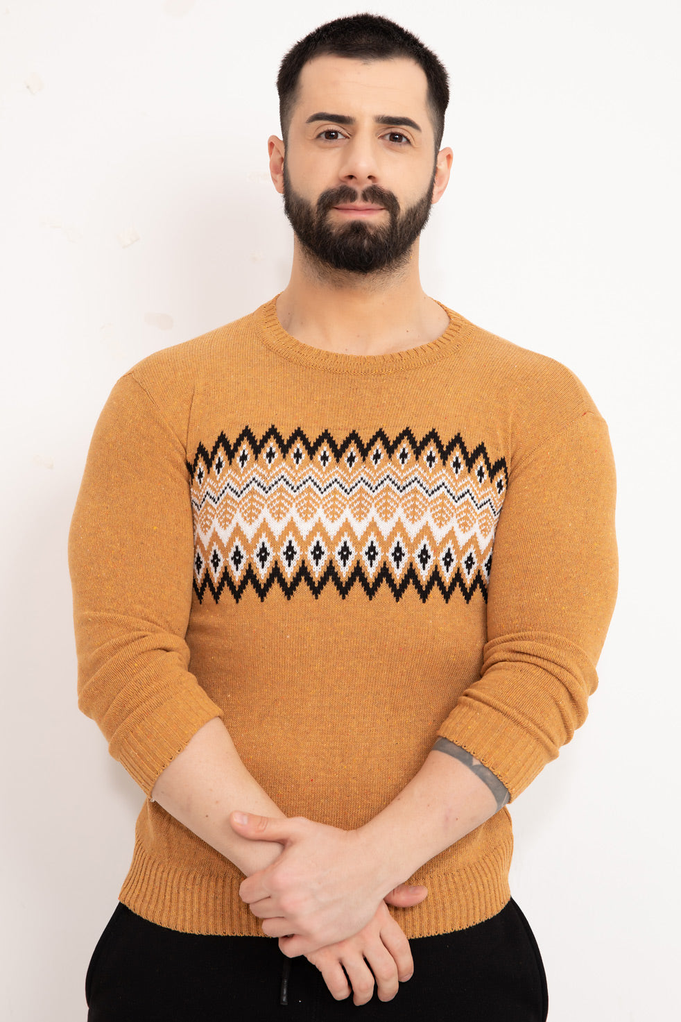 Saffron Patterned Men's Knitwear Sweater