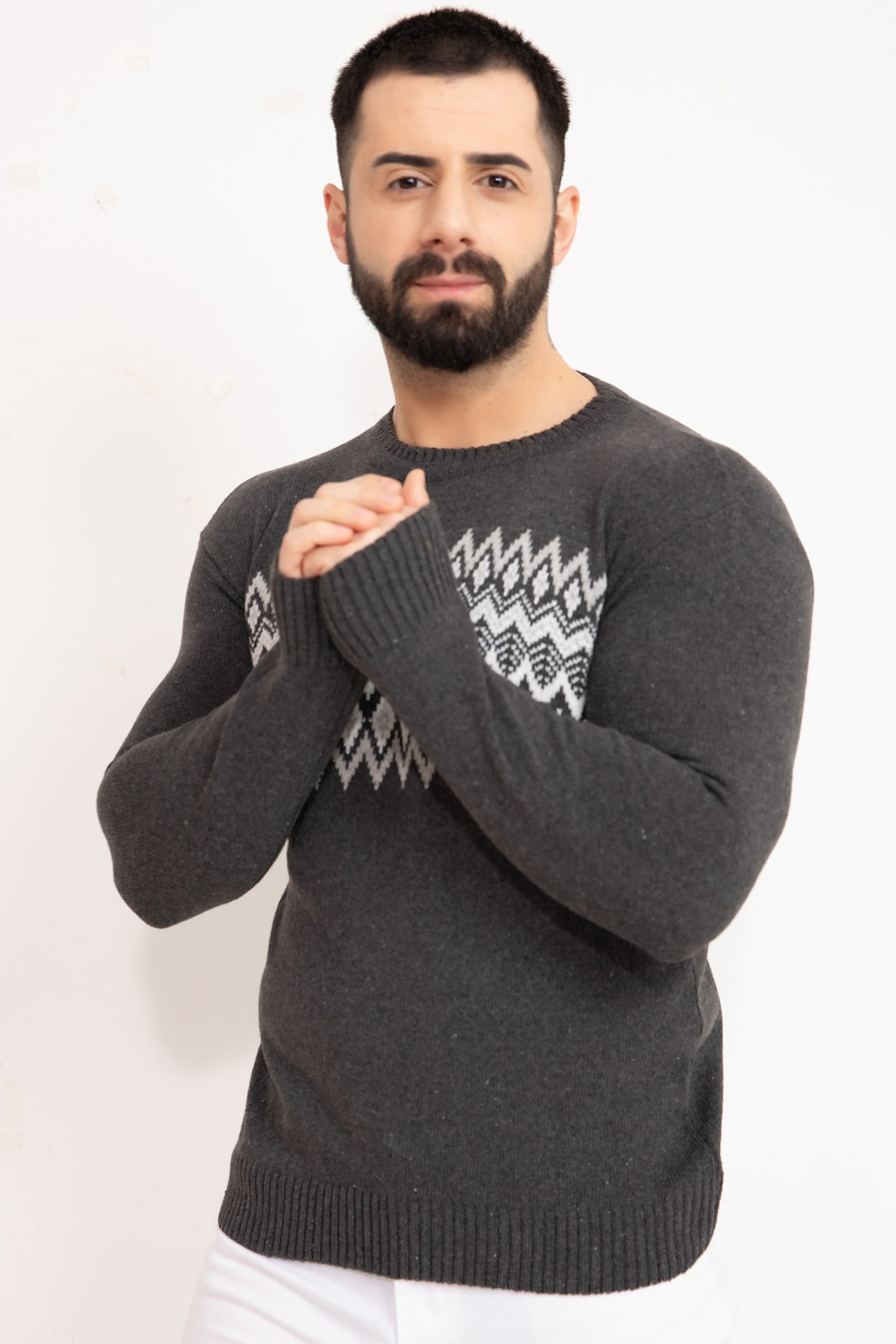 Dark-grey Patterned Men's Knitwear Sweater