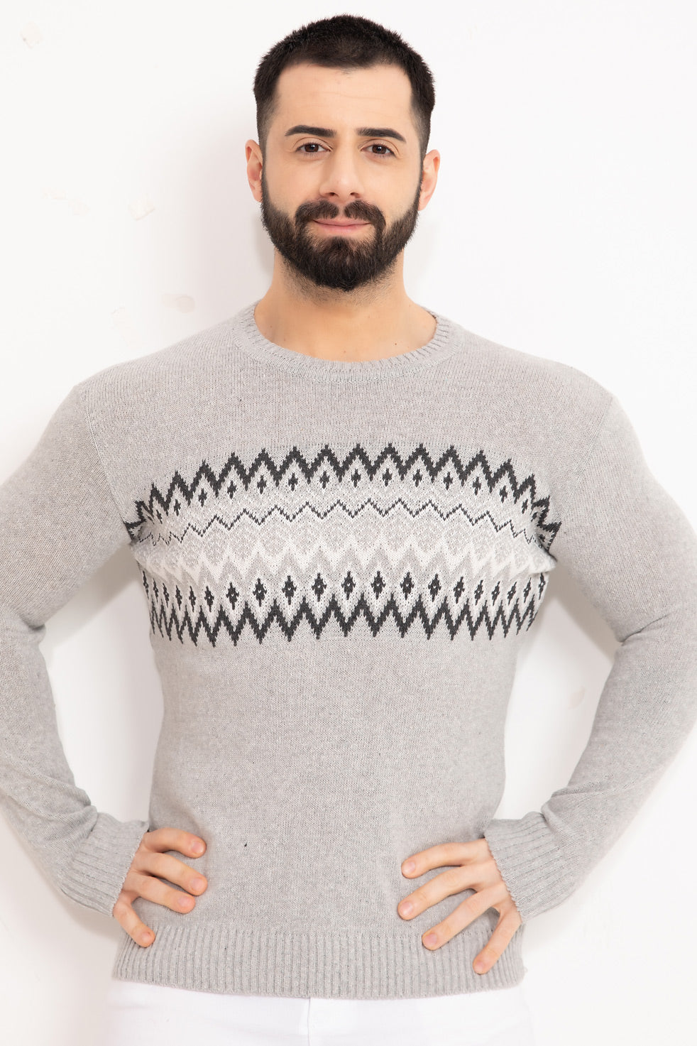 Grey Patterned Men's Knitwear Sweater
