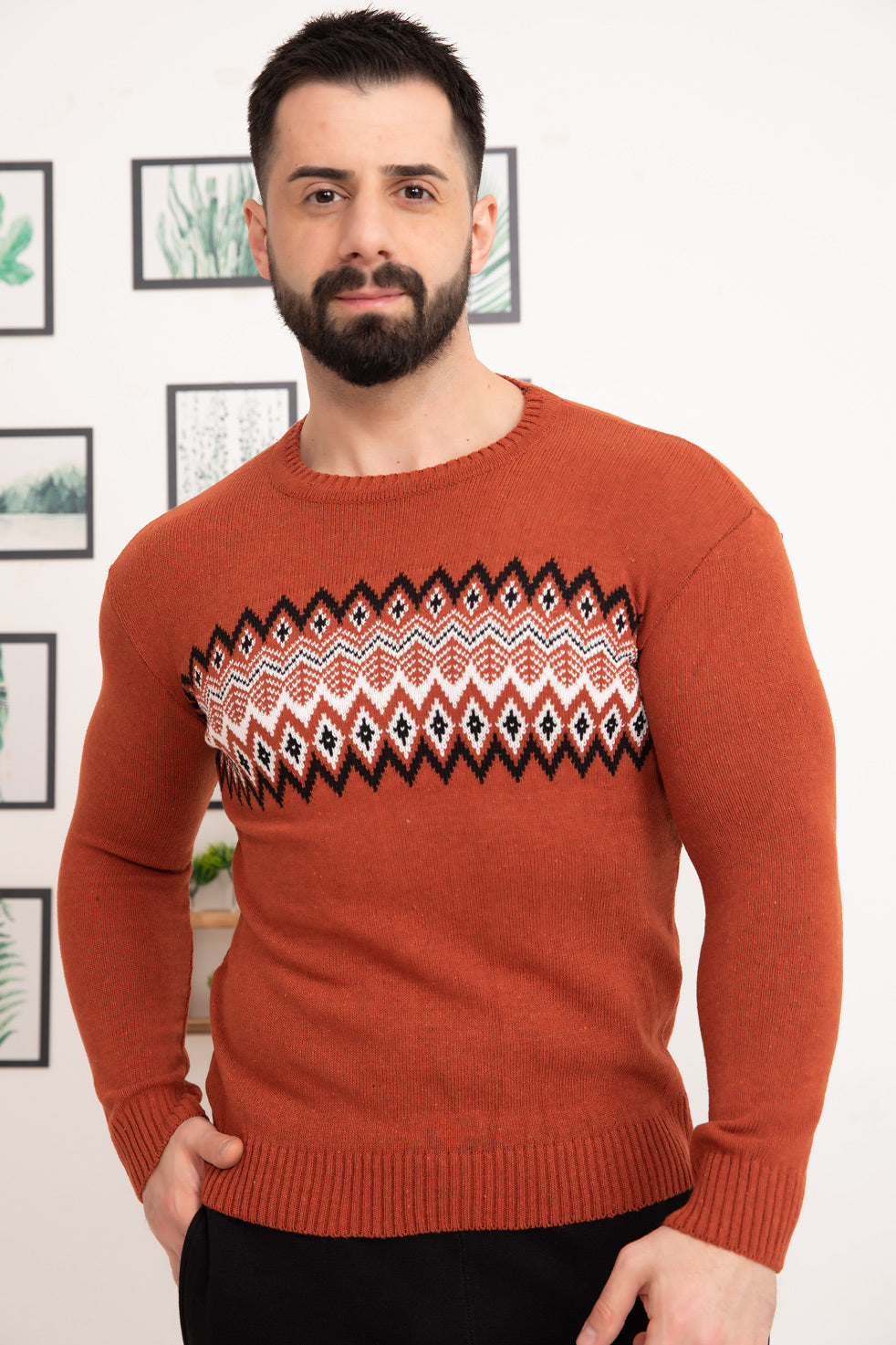 Dark-orange Patterned Men's Knitwear Sweater