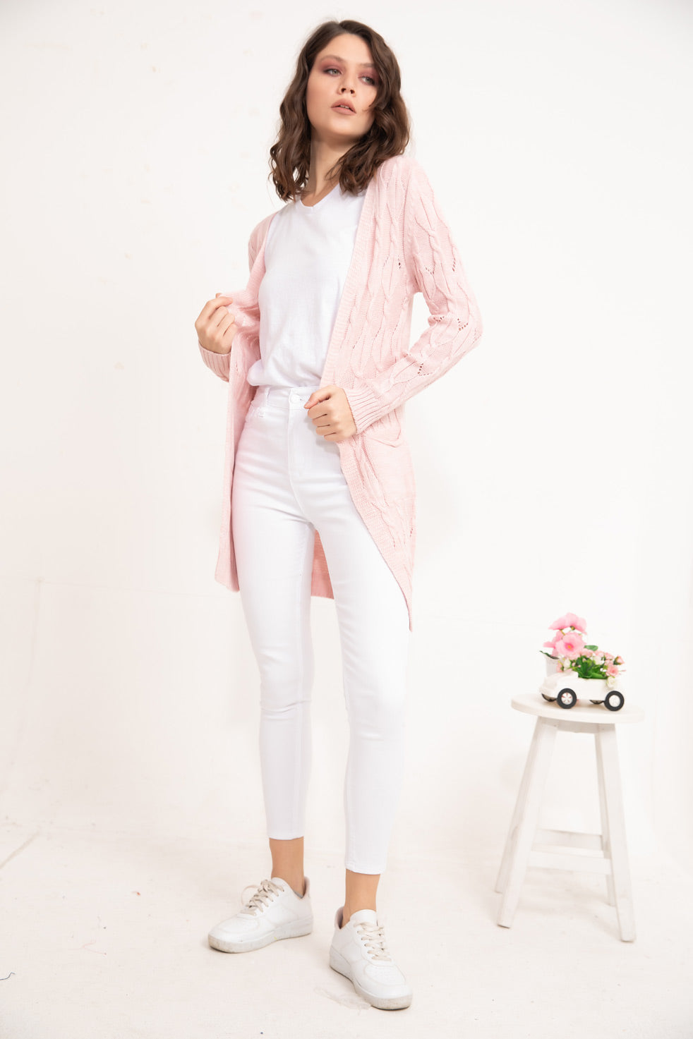 Rose-powder Patterned knitwear Cardigan
