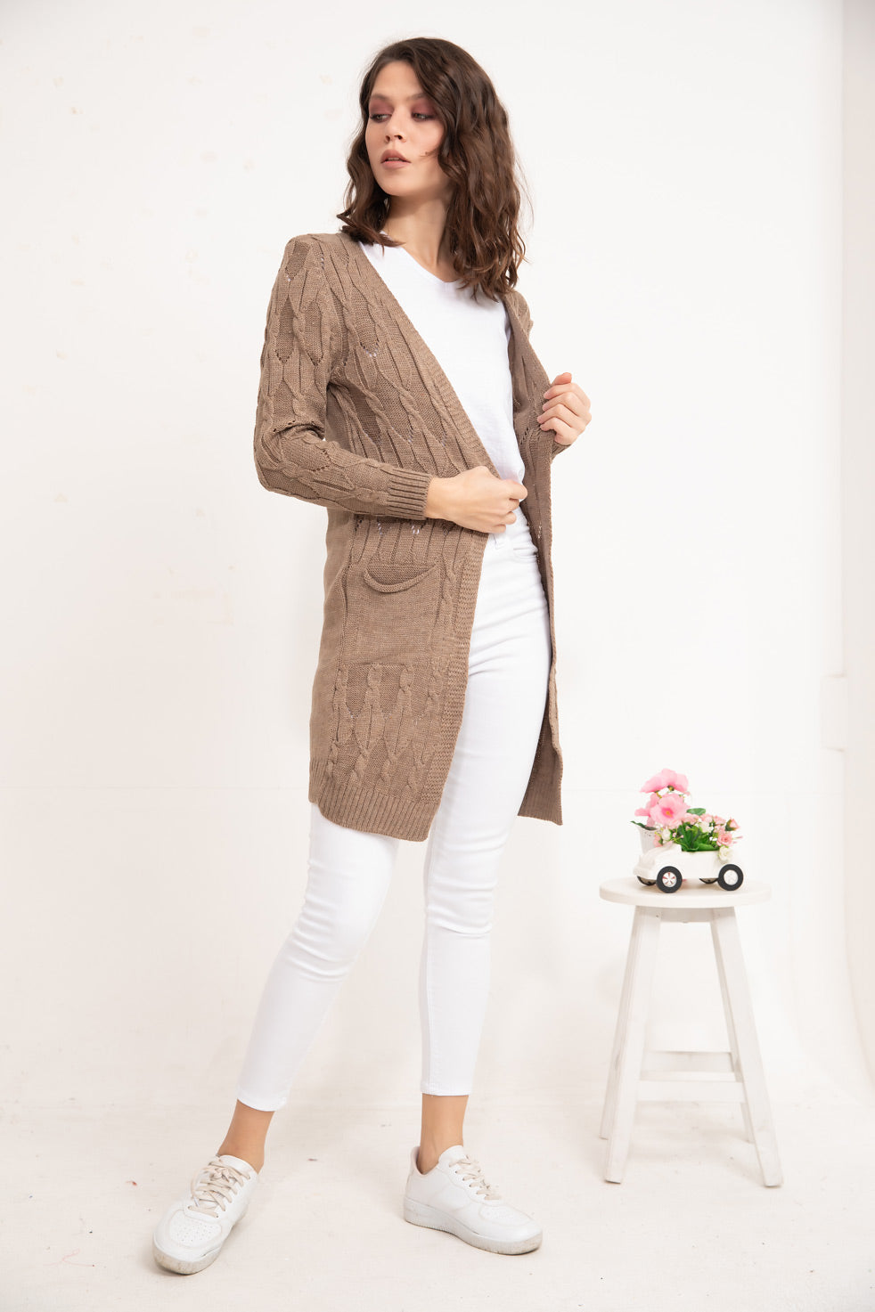 Brown Patterned knitwear Cardigan