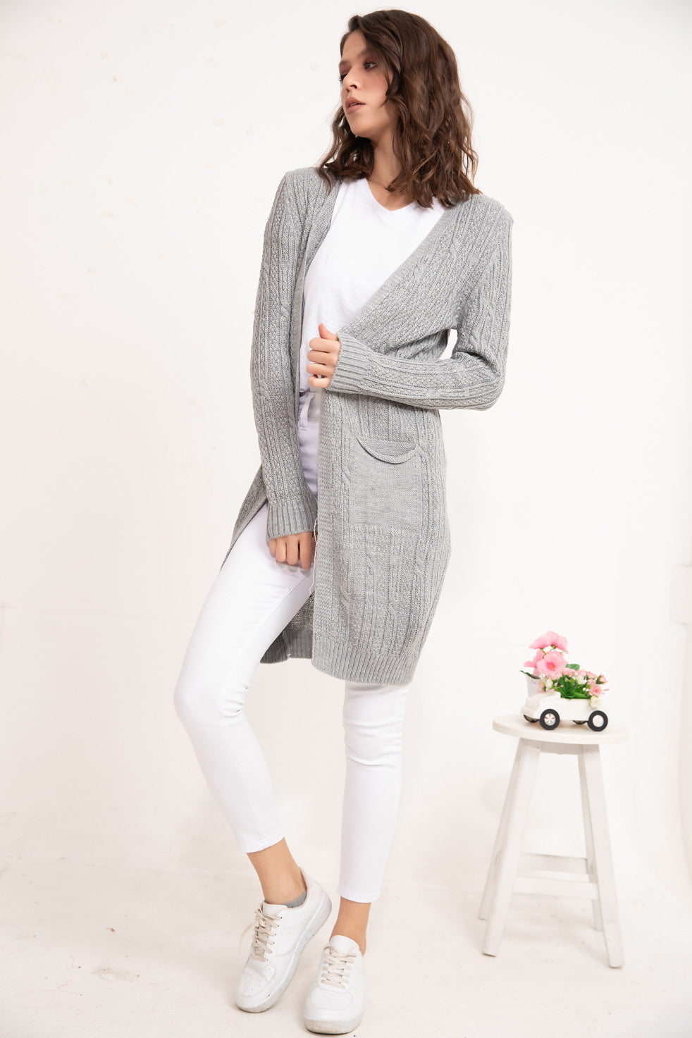 Grey Patterned knitwear Cardigan