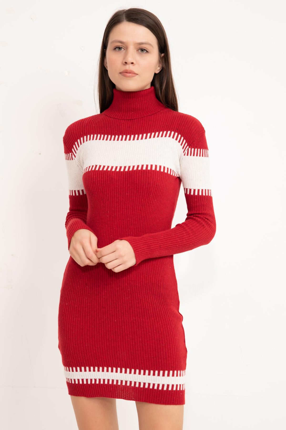Red Half Turtleneck knitwear tunic