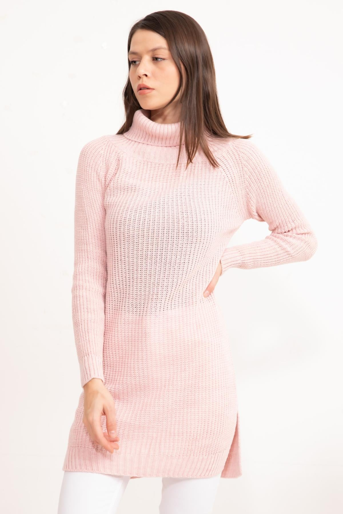 Rose powder Turtleneck Knitwear Tunic