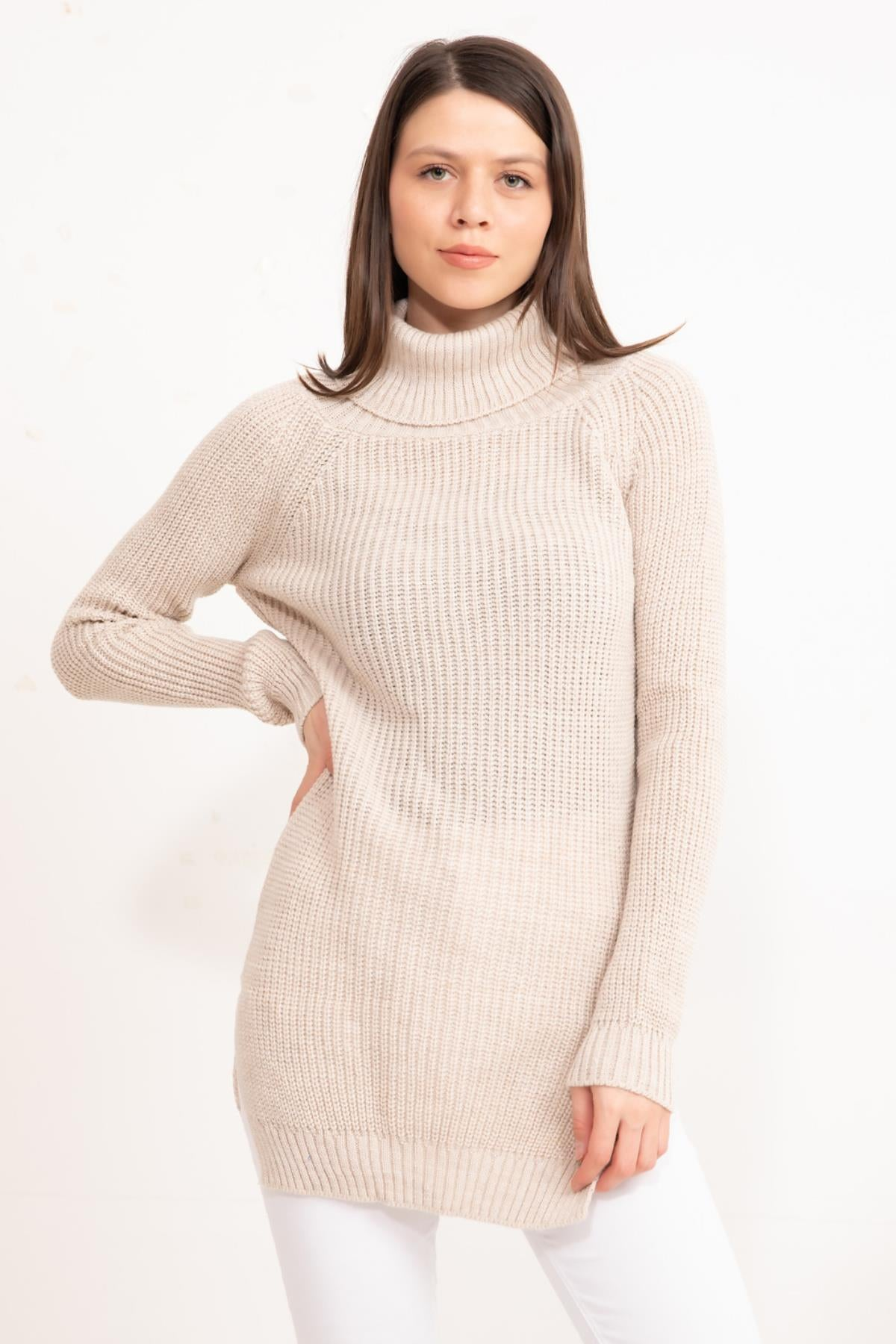 Stone Turtleneck Knitwear Tunic
