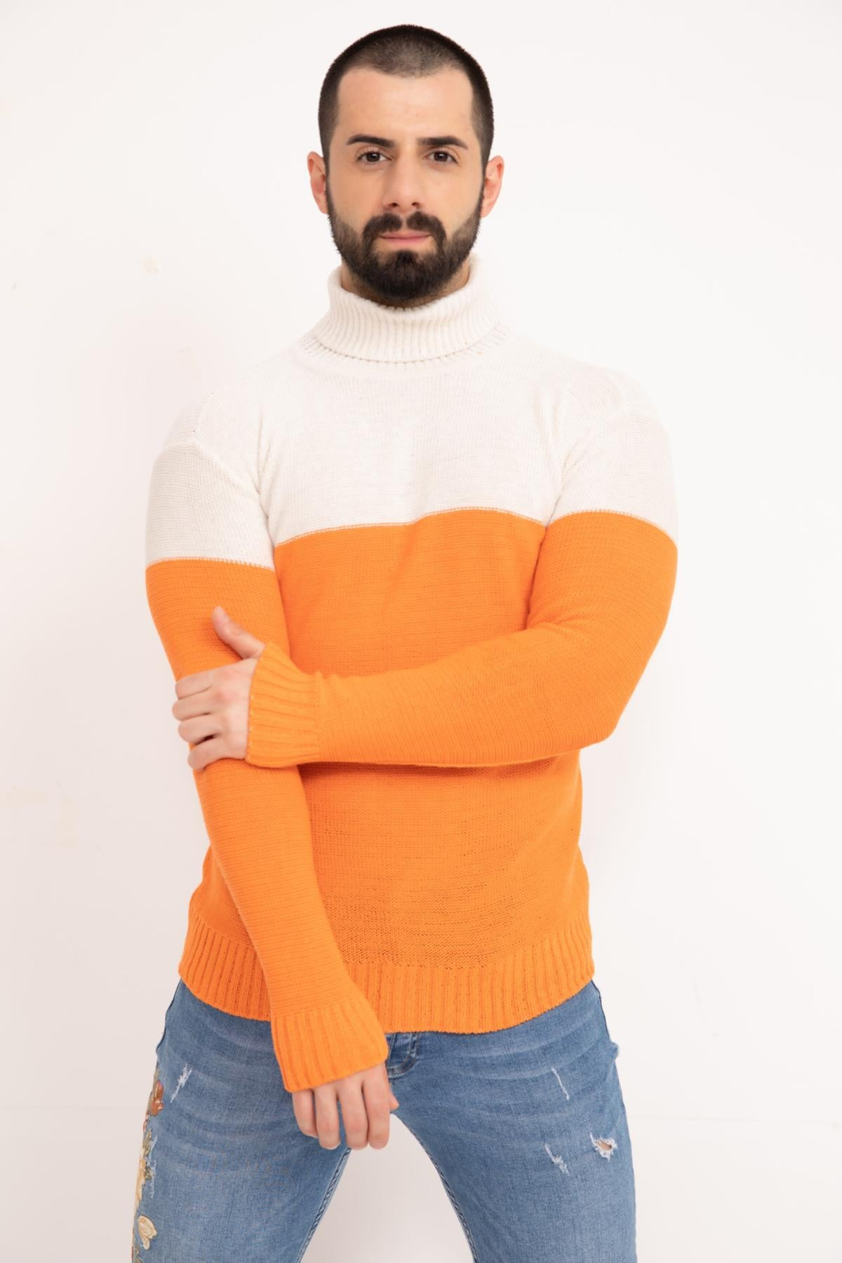 Orange Double Color Neck Men's Knitwear Sweater