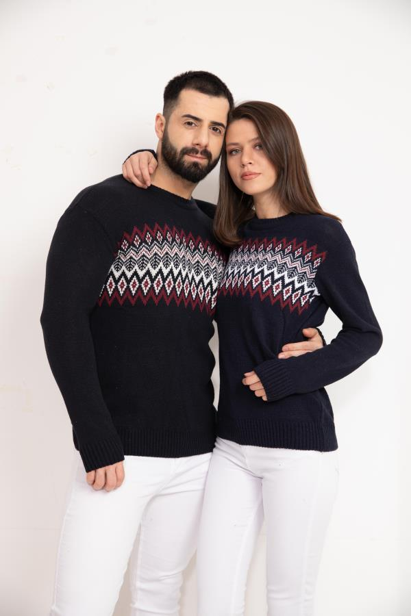 Navy-blue Patterned Knitwear Sweater For lovers